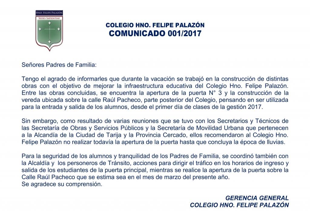 Comunicado 001-2017