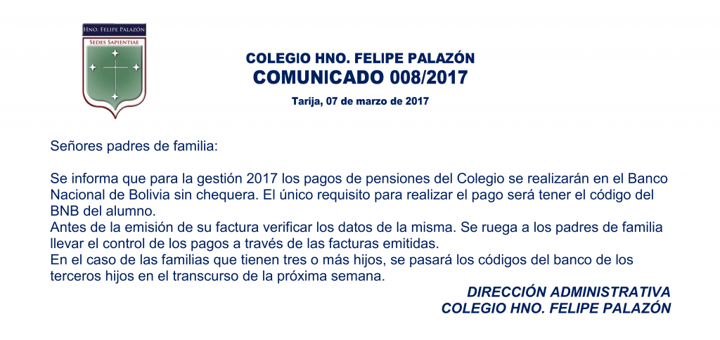 Comunicado 008-2017